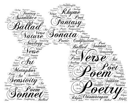 Parole nuvole, concetto di poesia fatta di tag e forma coppia. Archivio Fotografico - 87432732