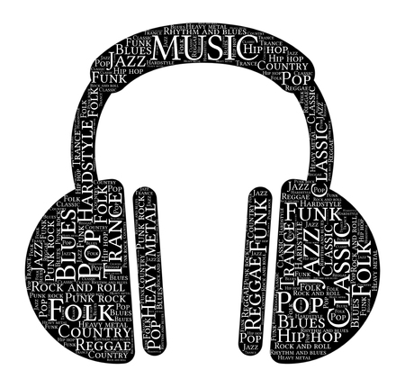 Words cloud of Music made of a headphones shape with tags on white background.