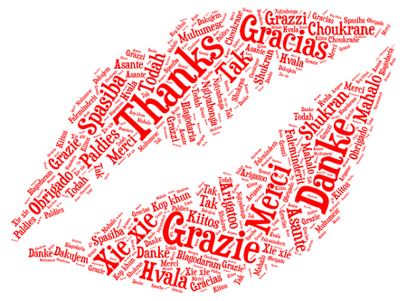 Word cloud concept of thanks made with lips shape Illustration