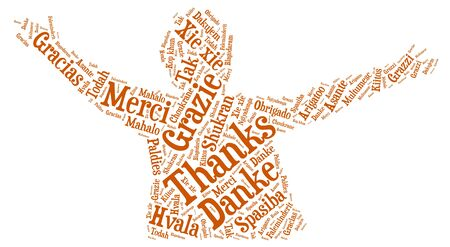 Word cloud concept of thanks Illustration
