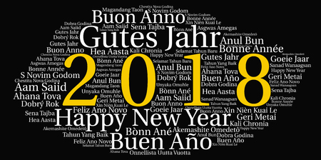 Words cloud, concept of New Year in all languages of the world made with cloud shape and tags.