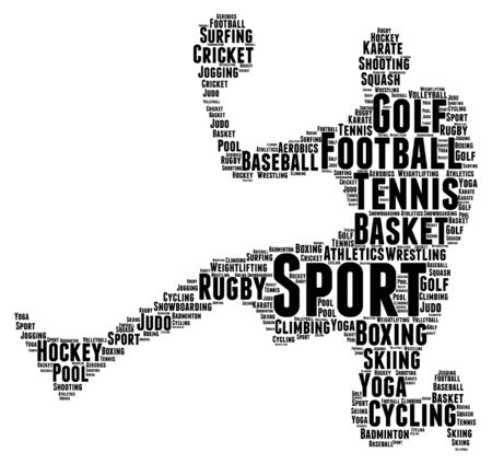 Words cloud, concept of SPORT made with player shape and tags. Illusztráció