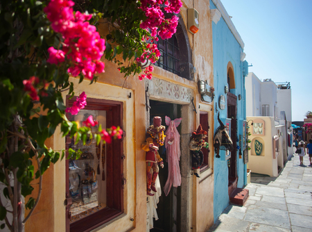 Santorini Island, Greece - July 19, 2012: Streets with stores. Santorini, classically Thera, and officially Thira, is an island in the southern Aegean Sea.