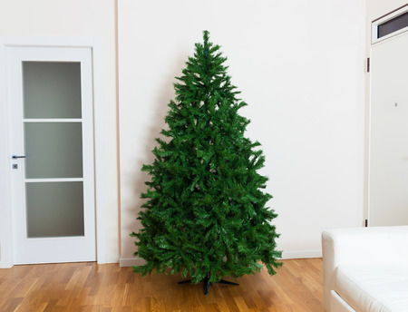 Bare artificial christmas tree in house with white furnishings and oak parquet flooring. Stockfoto
