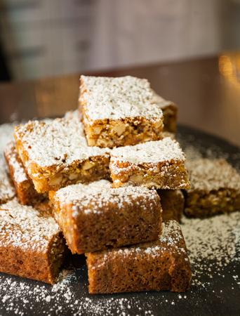 Homemade Delicious Blonde Brownies. closeup chocolate cake. Stock Photo