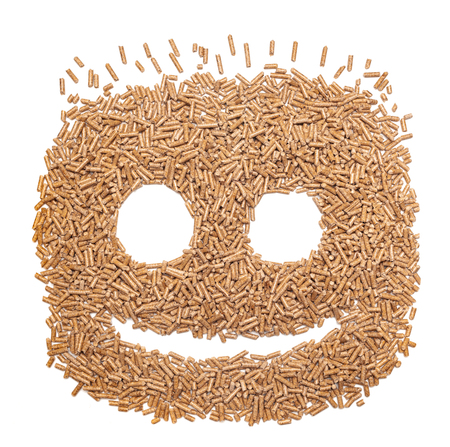 Funny face made with alternative biofuel from sawdust wood pellets. Stock Photo