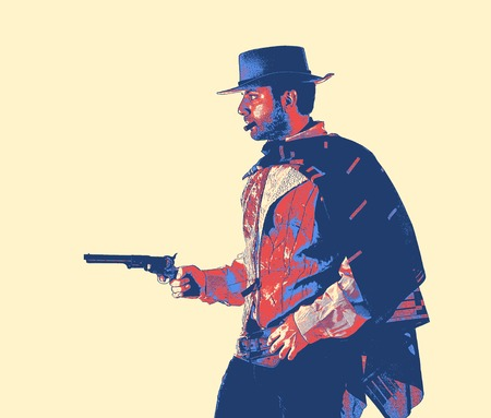 Gunslinger of the old west. Vintage game style.