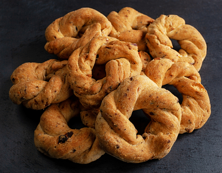 Neapolitan cookies called Taralli. They are made in Naples with pig suet, almonds and black pepper. 写真素材