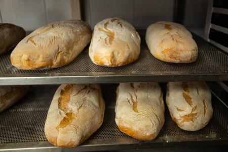 Elaboración diaria de pan horneado en horno de leña con método tradicional.
