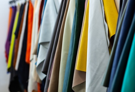 Different types and colors of leathers ready for the manufacture of products Stock fotó