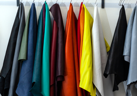 Different types and colors of leathers ready for the manufacture of products Banco de Imagens