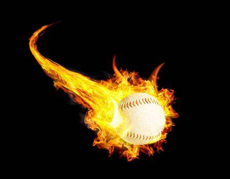 Baseball ball on fire with smoke and speed. Zdjęcie Seryjne