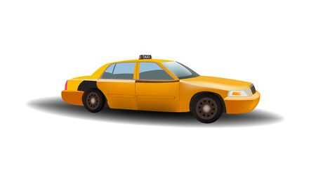 Yellow cab, typical Vehicle of New York, drawn on white background with shadow.