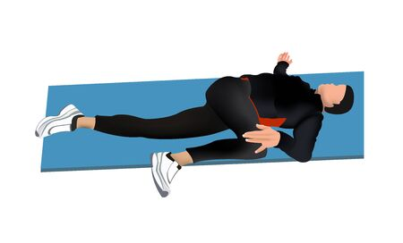 Postural gymnastics exercise. The illustration shows a man on a mat performing a stretching exercise.