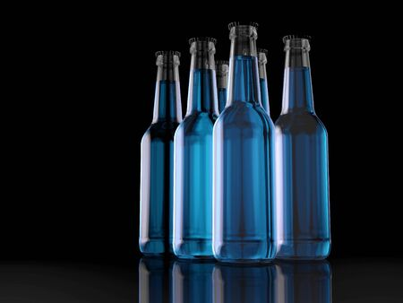 six bottles blue - six pack - 3d - friends - party
