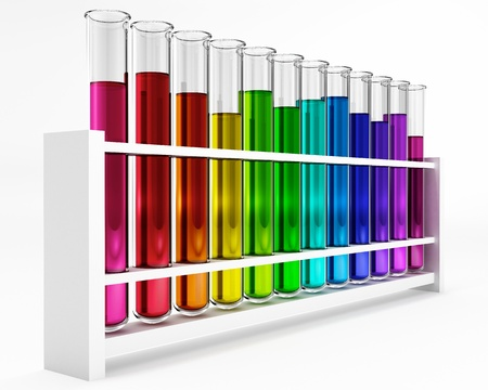 glas: 12 Test tubes - colorful - rainbow - chemical - test - studies