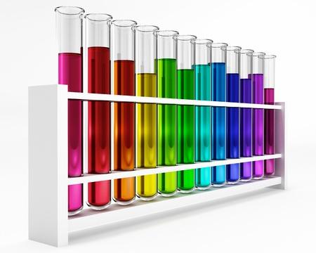 12 tubos de ensayo - Prueba - - color - iris - químicos estudios