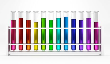glas 3d: 12 Test tubes - colorful - rainbow - chemical - test - studies