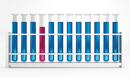 12 Test tubes - reaction - blue - pink - chemical Stock Photo