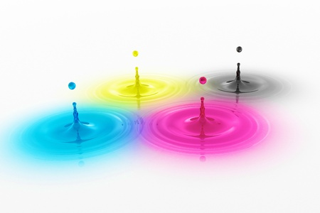 glas 3d: CMYK colored drops with waves - Cyan Magenta Yellow Black