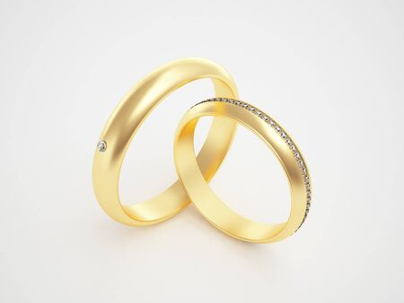 Golden rings with diamonds - friendships - marriage - weddingrings - pair  Stock Photo - 10784987