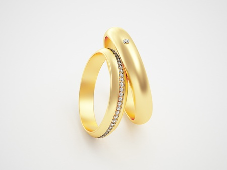 Golden rings with diamonds - friendships - marriage - weddingrings - pair  Stock Photo - 10784984