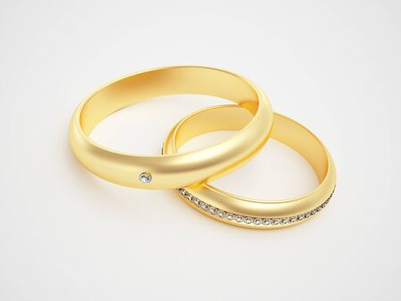Golden rings with diamonds - friendships - marriage - weddingrings - pair  photo