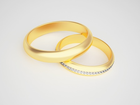 Golden rings with diamonds - friendships - marriage - weddingrings - pair  Stock Photo - 10784982