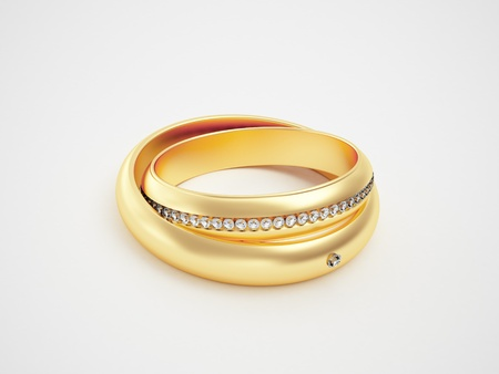 Golden rings with diamonds - friendships - marriage - weddingrings - pair