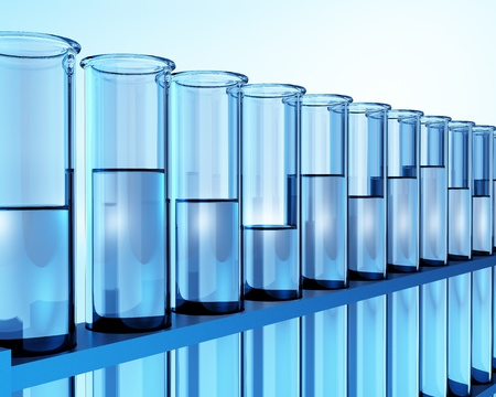 test tubes with transparent liquid - ehec - virus - chemical test - science Stock Photo
