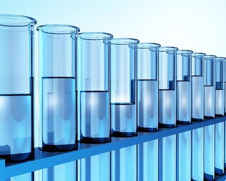 test tubes with transparent liquid - ehec - virus - chemical test - science Stock Photo