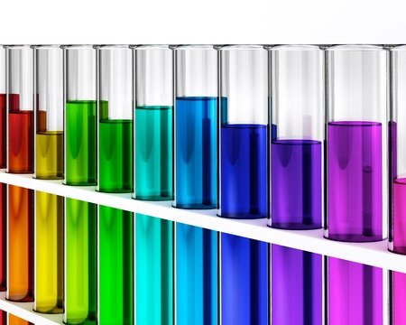 a solution tube: Rainbow colored liquid - test tubes- ehec - virus - chemical test - science  Stock Photo