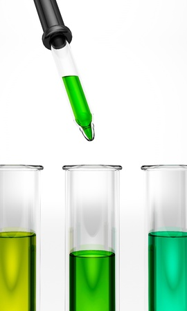 glas 3d: Test tubes with pipette - colored - green - yellow - cyan - ehec - virus - chemical test - science  Stock Photo