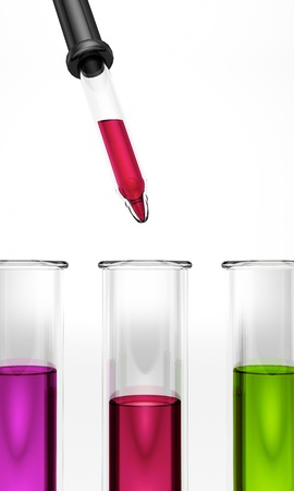 Test tubes with pipette - colored - green - red - violet - ehec - virus - chemical test - science  Stock Photo