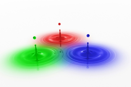 glas 3d: RGB colored drops with waves - Red Green Blue