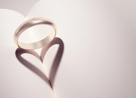 anillos de boda: heartshadow con aros de medio libro - tarjeta - escriba su texto en el espacio en blanco Foto de archivo