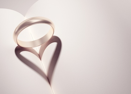 heiraten: heartshadow mit Ringen an einem Buch Mitte - Karte - schreiben Sie Ihren Text in Leerzeichen
