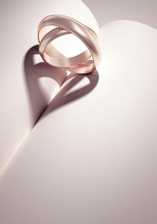 bodas de plata: heartshadow con anillos en una media de libro - tarjeta - escribir el texto en el espacio en blanco Foto de archivo