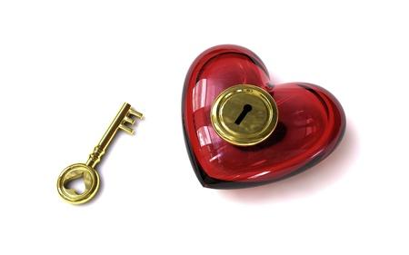 parship: key of love - key of heart - open heart Stock Photo