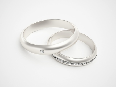 wedding rings: Silver rings with diamonds