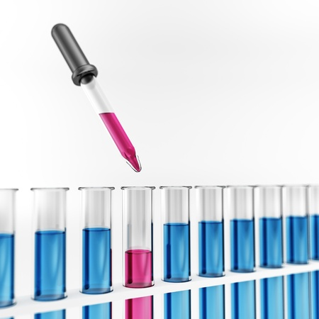 glas 3d: Test tube with pipette - blue - pink - chemical Stock Photo