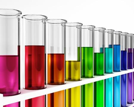 experimento: Tubos de ensayo - colorido - arco iris - qu�micos - prueba - estudios Foto de archivo