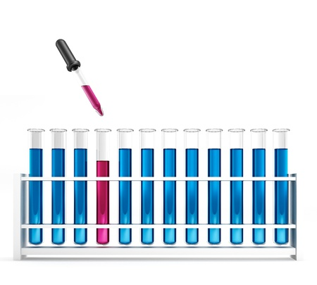 glas 3d: Test tubes with pipette - blue - pink - chemical