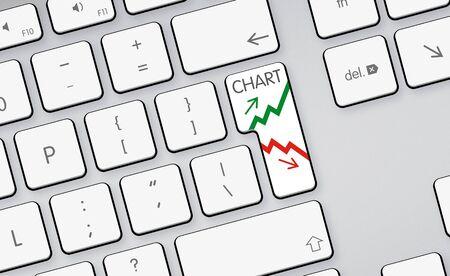 increase decrease green red arrows icon button on white keyboard photo