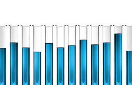 Row of glass test tubes with blue transparent liquid of various heights  Stock Photo