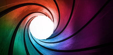 tunnel vision: 3d rainbow colored abstract frame barrel tube Stock Photo