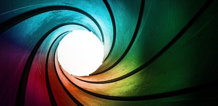 tunnel vision: 3d colored abstract background focus concept Stock Photo