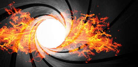 3d abstract action focus fire gun barrel hot metal concept illustration illustration
