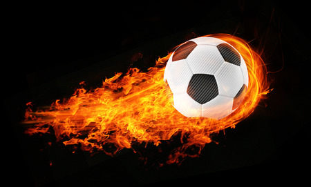 soccerball: 3d abstract burning soccer football background illustration