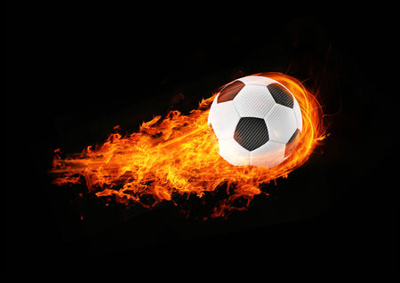 3d abstract flamed football fireball background photo